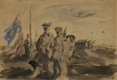 feliks-topolski-raf-station-british-and-polish-flags