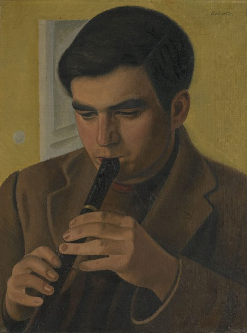 william-roberts-the-artists-son-playing-the-recorder